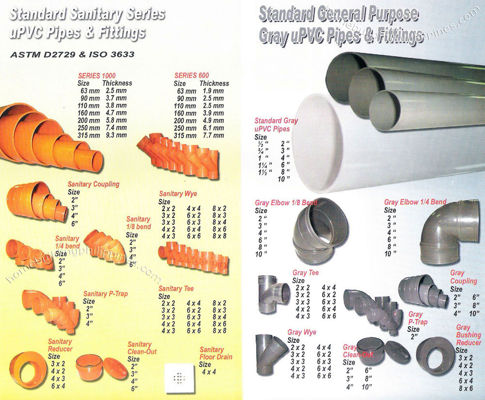 Standard Sanitary Series uPVC Pipes and Fittings, Standard General