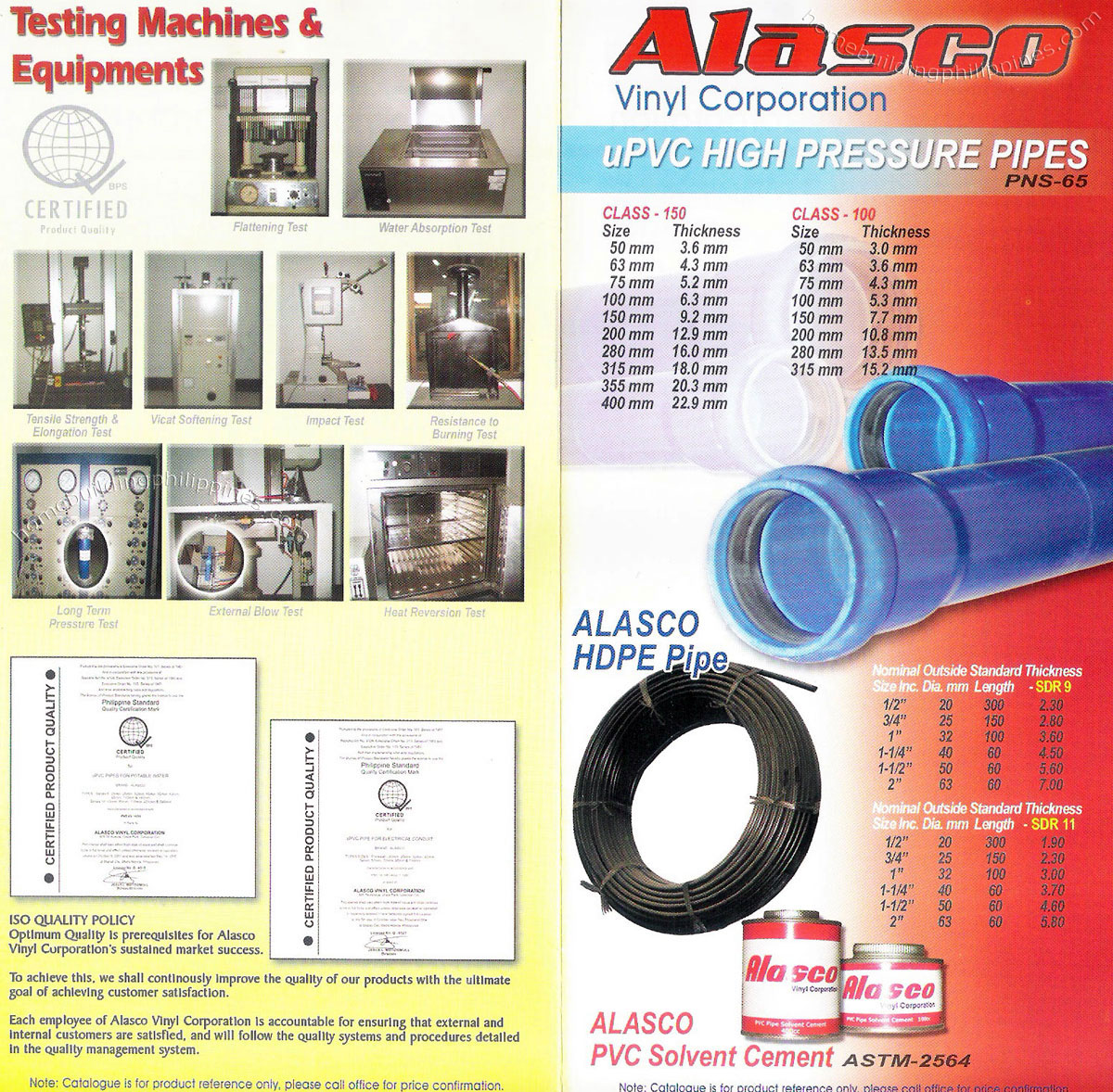 Testing Machines and Equipment, uPVC High Pressure Pipes