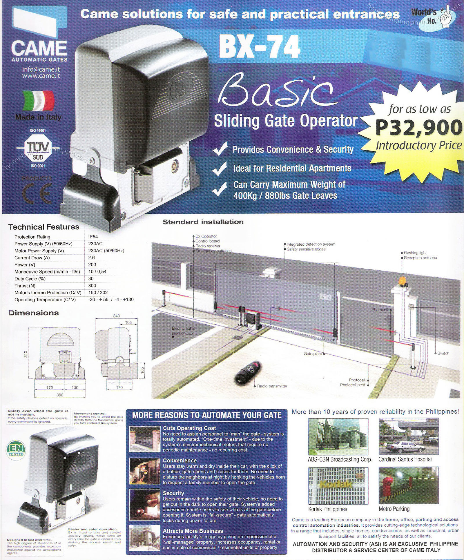 Came Automatic Sliding Gate Operator System Philippines