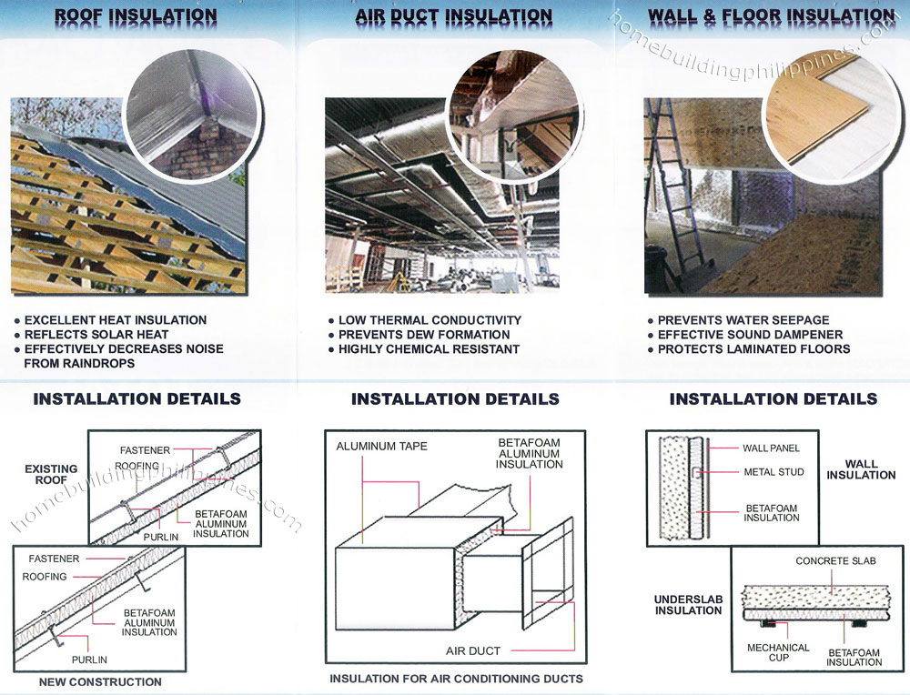 betafoam roof insulation air duct insulation wall and