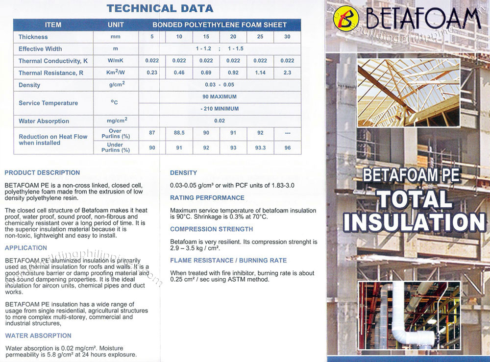 Betafoam Pe Total Insulation Technical Data Philippines