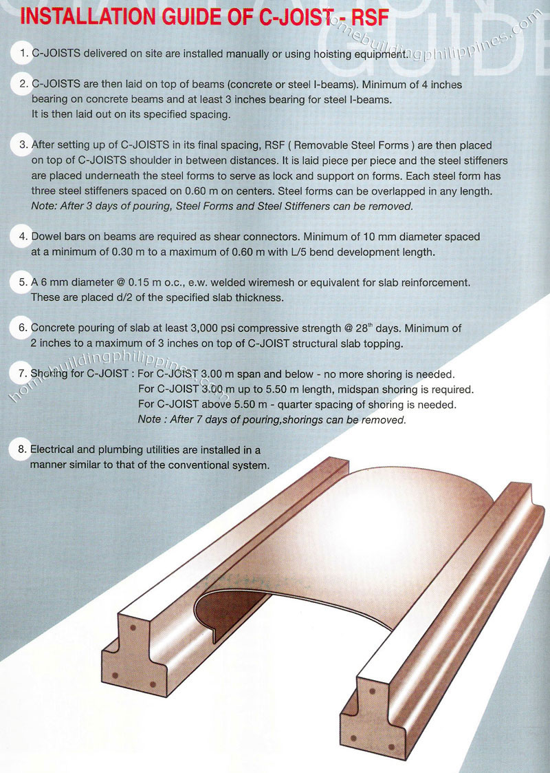 C-Joist RSF Floor and Roof Slab System Installation Guide