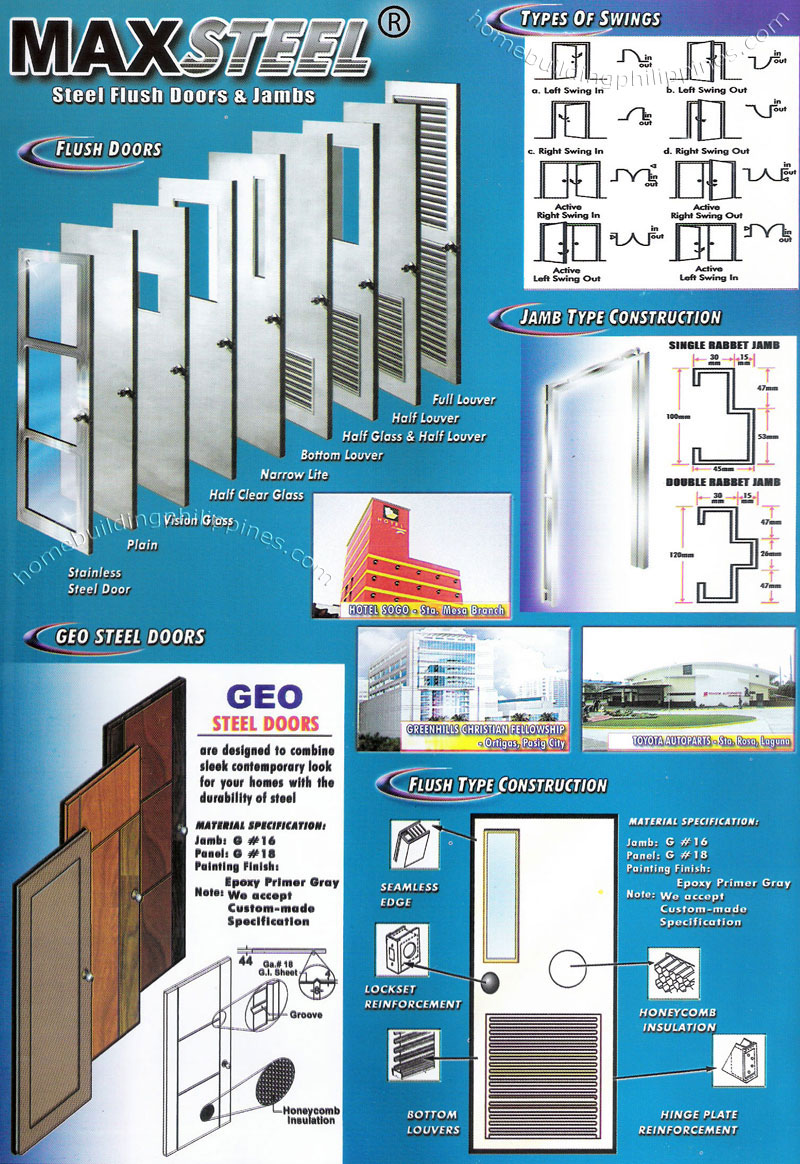 Steel Flush Doors & Jambs, Geo Steel Doors Philippines