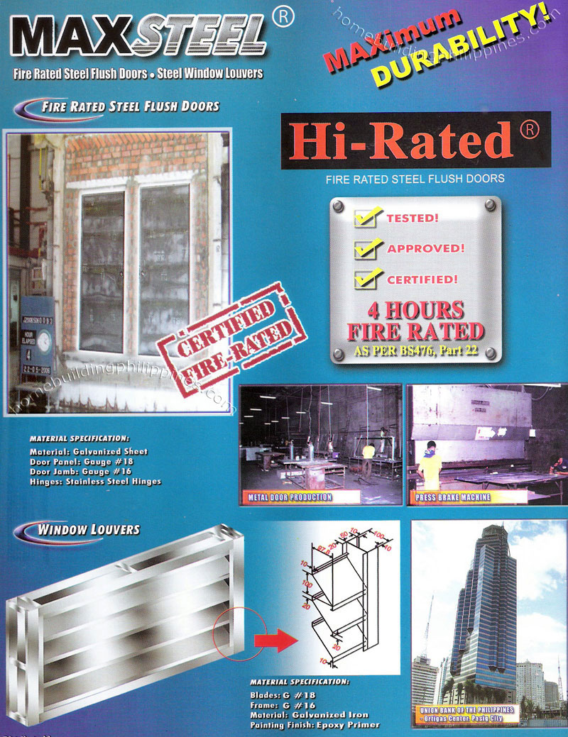 Fire Rated Steel Flush Door Window Louvers Philippines