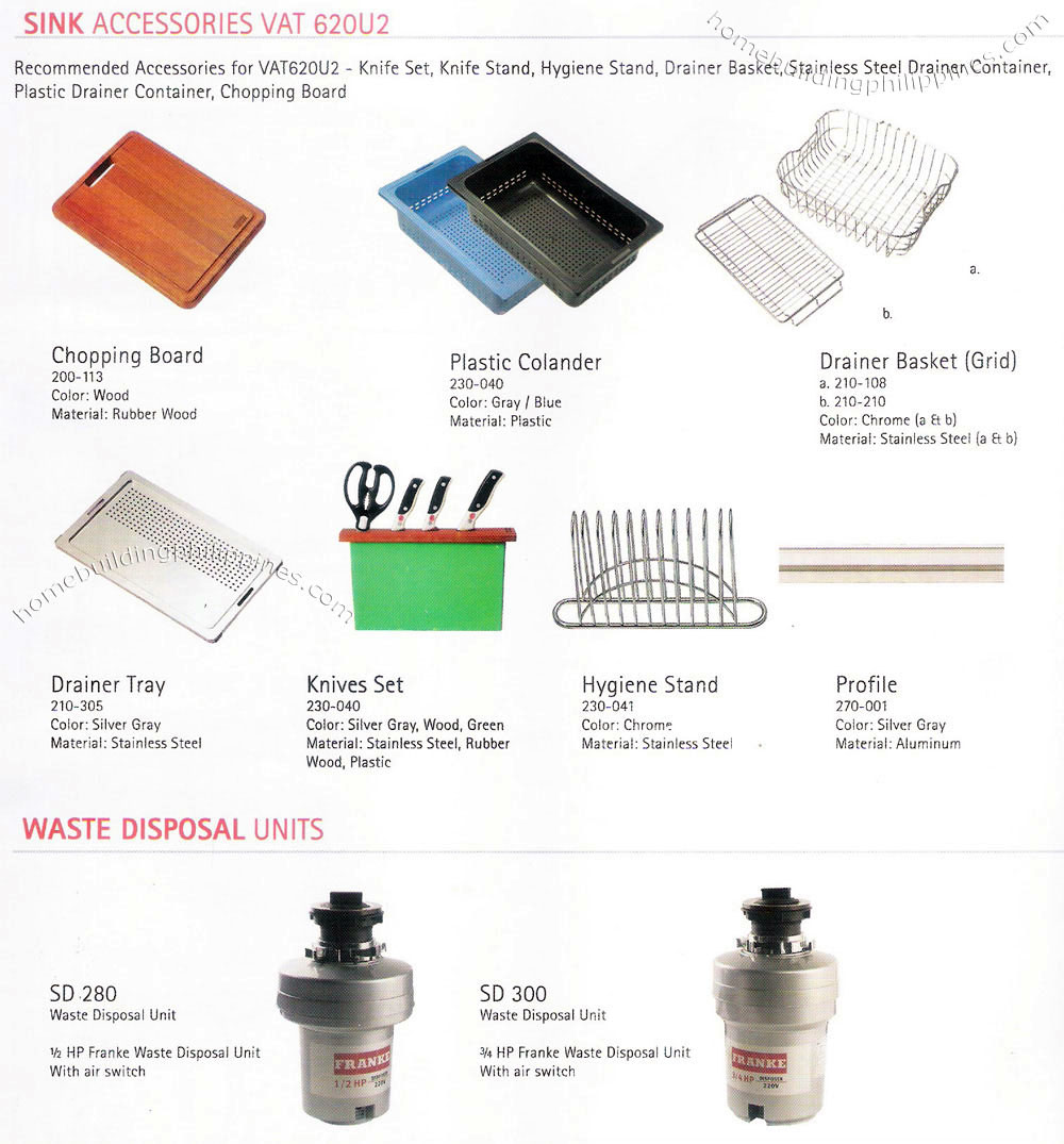 Kitchen Sink Accessories, Waste Disposal Units