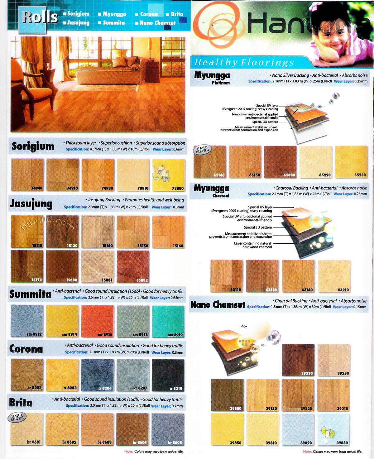 Anti Bacterial Vinyl Floor Covering Foam Flooring Rolls