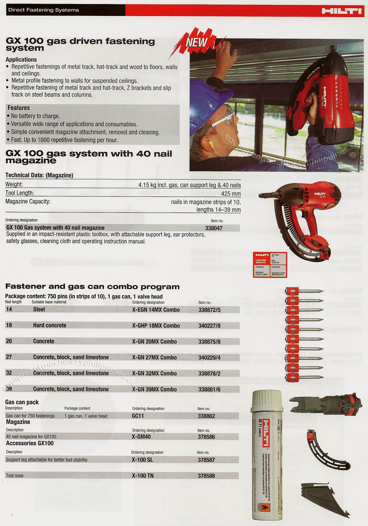 Gx 100 Gas Driven Fastening System Philippines
