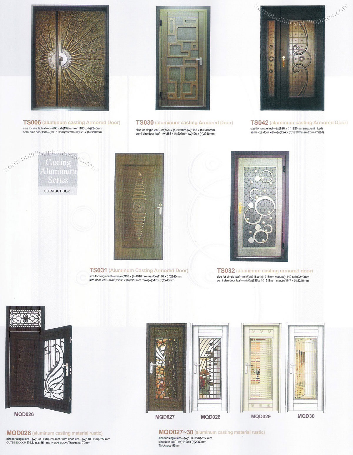 Casting Aluminum Outside Doors & Residential Security Metal Door Philippines pezcame.com