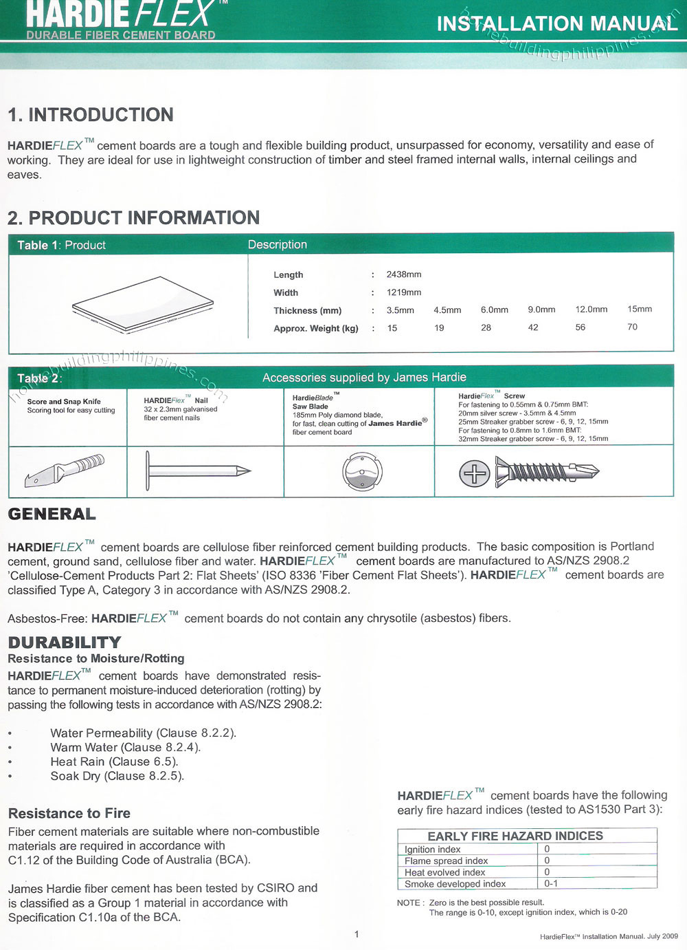 Hardieflex Durable Fiber Cement Board Installation Manual