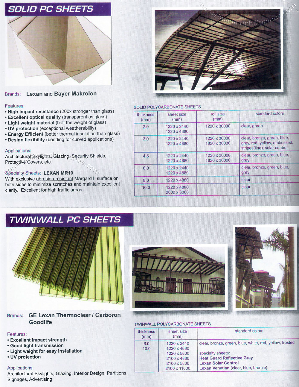 Solid Polycarbonate Roofing Sheet Twinwall Polycarbonate Sheet Philippines