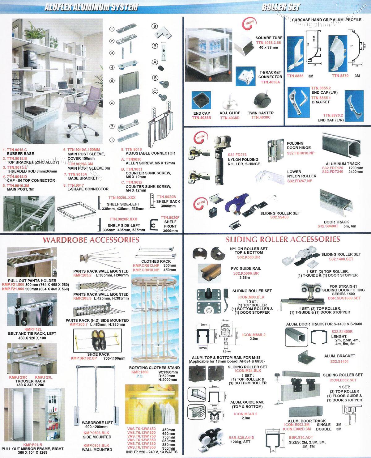 Aluflex Aluminum System Roller Set Wardrobe Accessories