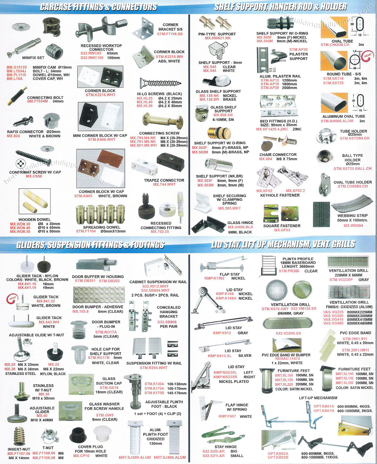 Carcase Fittings & Connectors, Shelf Support, Hanger Rod, Gliders ...