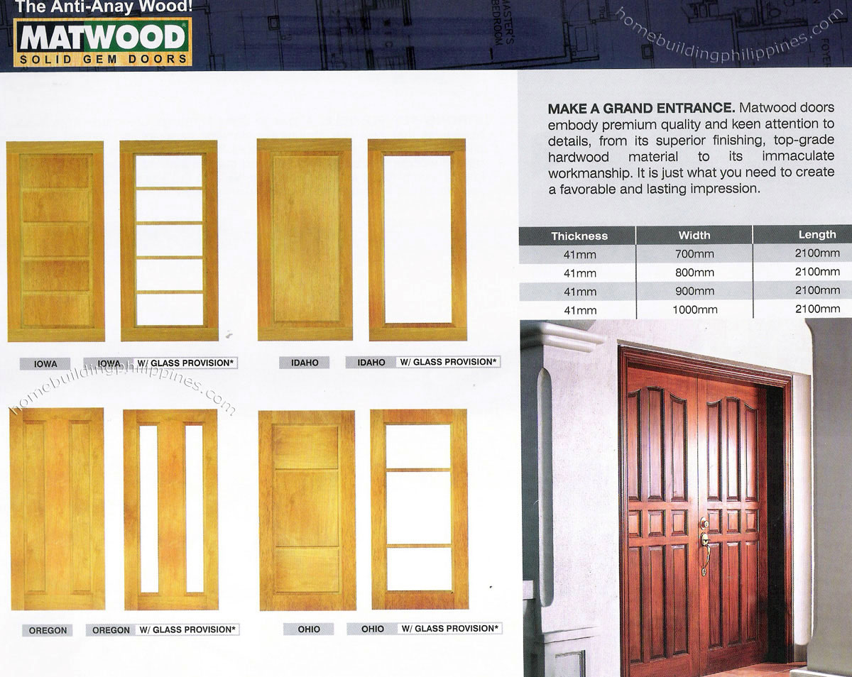 Solid Hardwood Main Door; Front Glass Doors Philippines