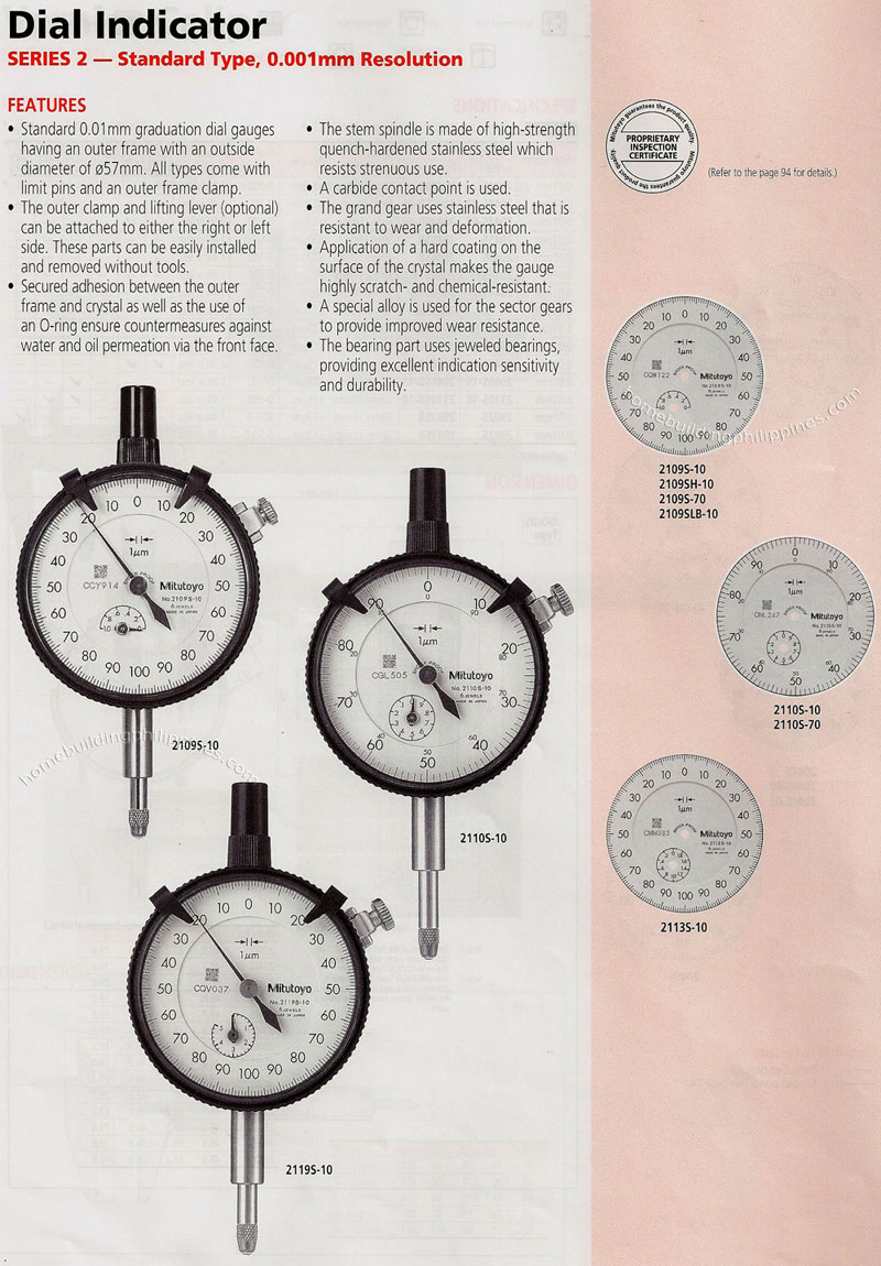 Types Of Dial Indicators : Dial indicator standard type features philippines