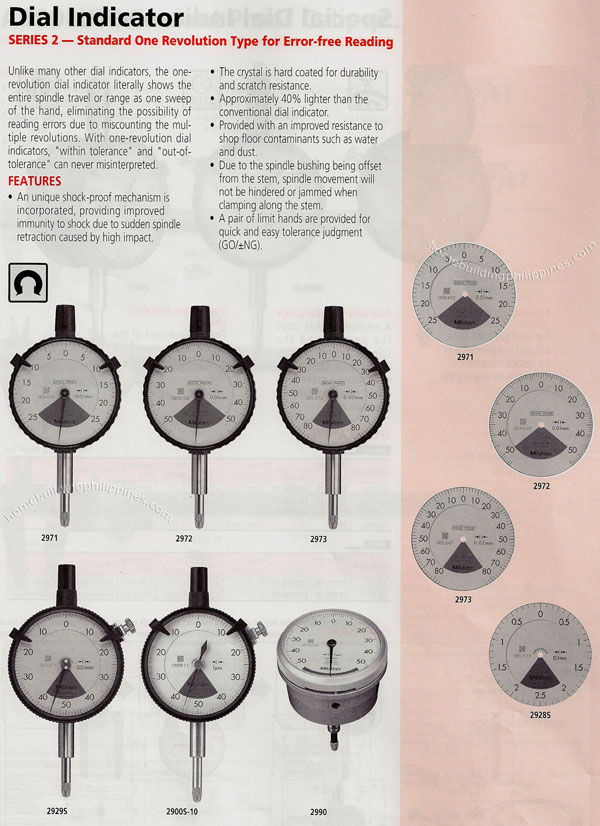 Types Of Dial Indicators : Dial indicator standard one revolution type philippines