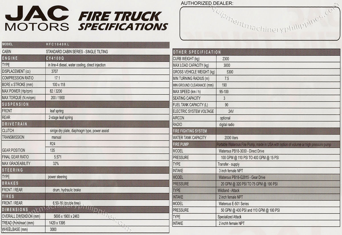 Fire Truck Specifications Philippines