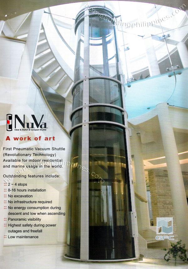 Nuva pneumatic vacuum compact shuttle indoor residential for Indoor elevator