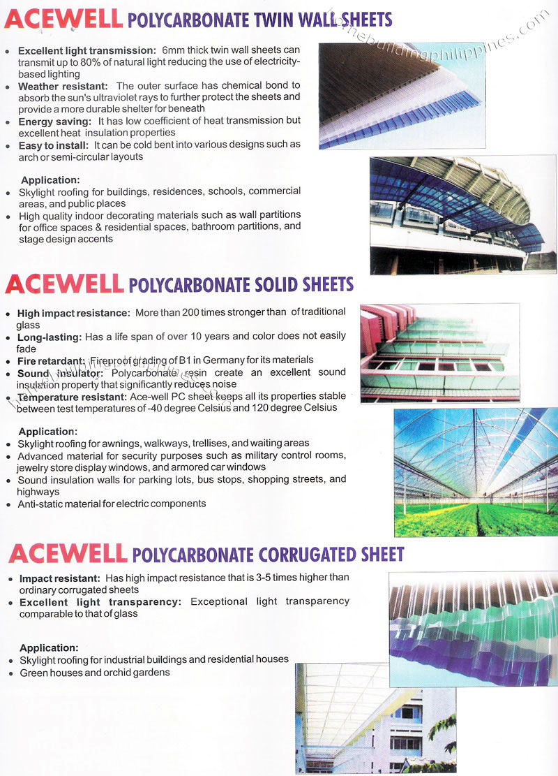 Acewell Polycarbonate Translucent Plastic Roofing Sheets
