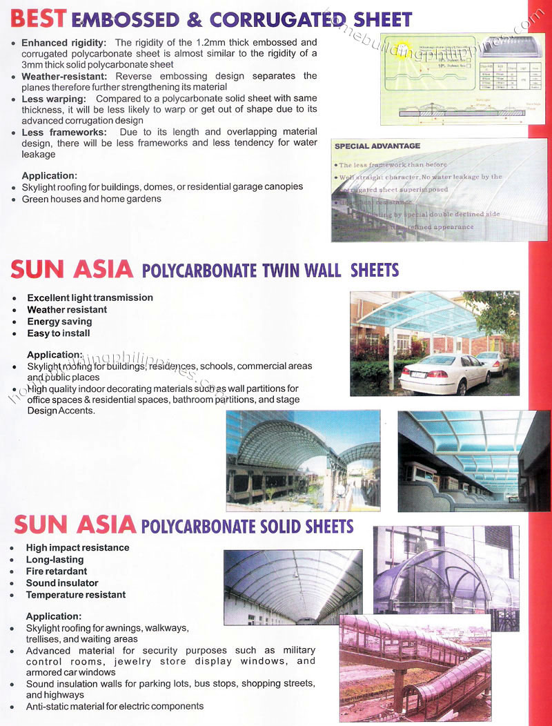 Embossed Corrugated Twin Wall Solid Polycarbonate