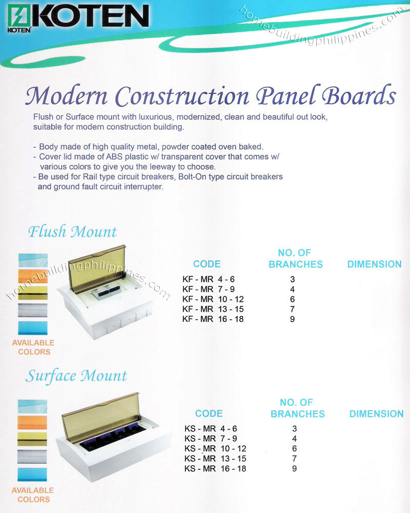 Koten Modern Construction Electrical Panel Boards Philippines Mount 18 Ways Distribution Box Electric Plastic Circuit Breaker