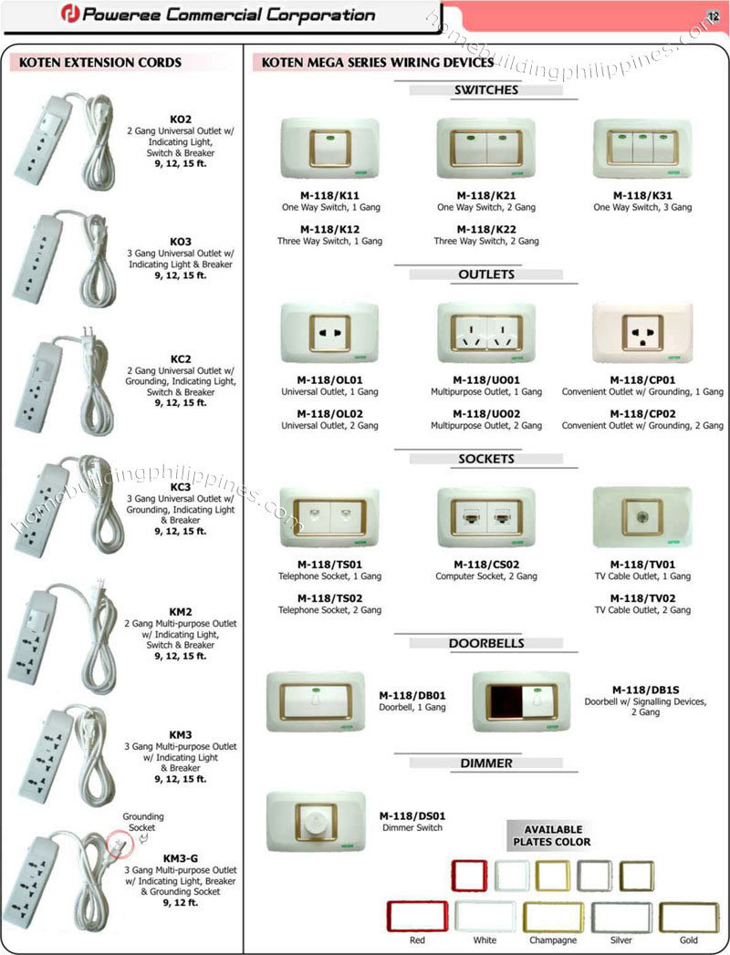Extension Cords Electrical Wiring Switches Sockets