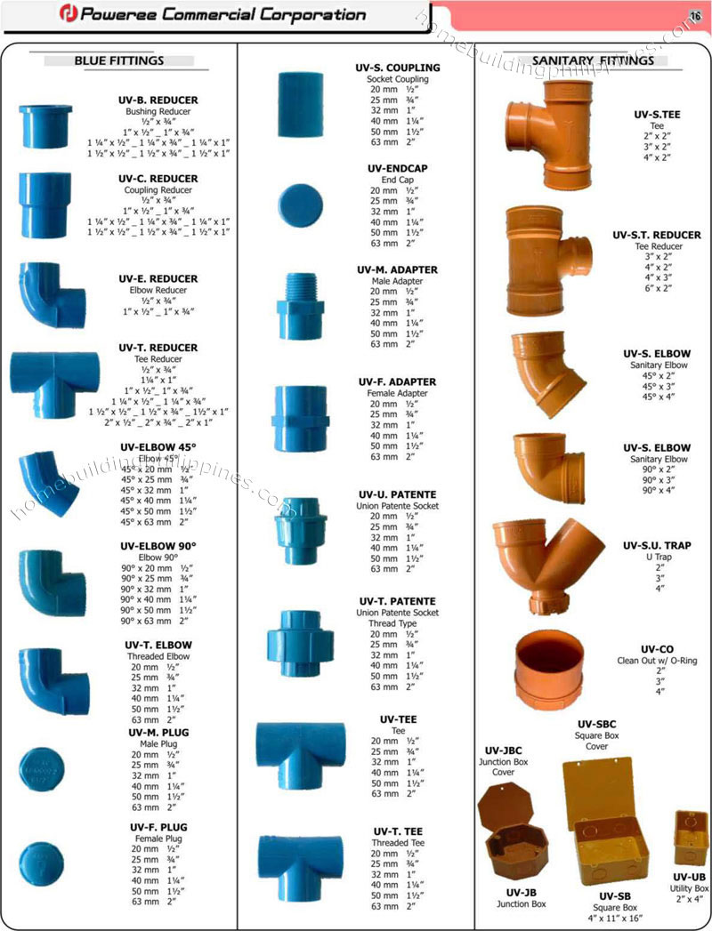 Pvc plumbing sanitary fittings piping philippines for Types of pipes used in plumbing