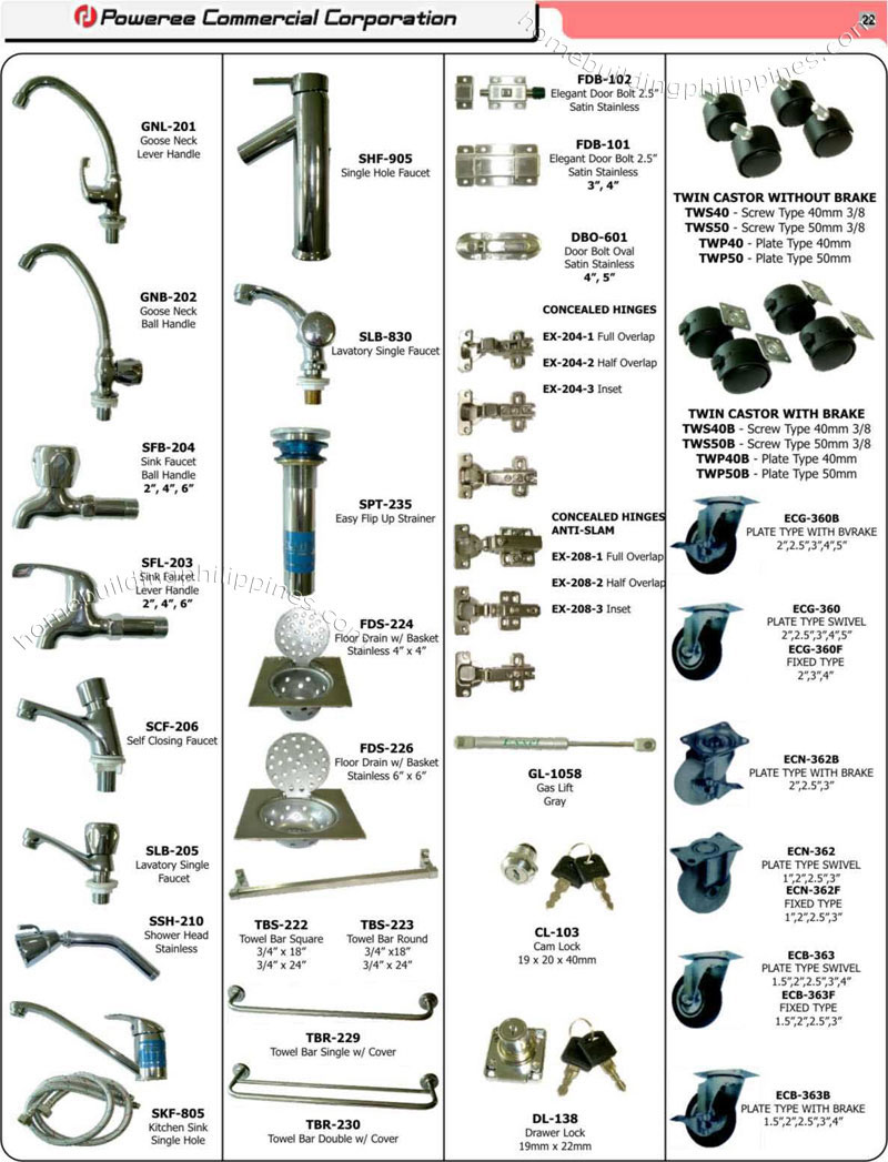 Bathroom Accessories, Sink Strainer, Floor Drain, Door Bolt, Gas