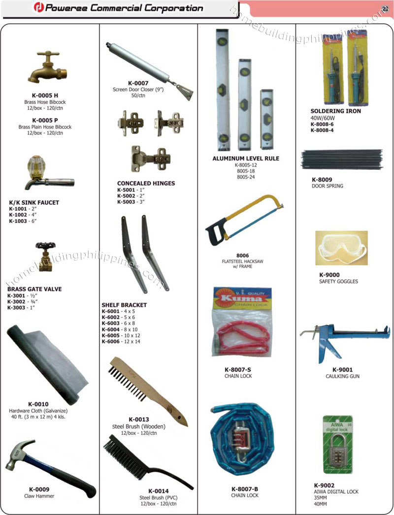 Garden faucets door closer hinges steel brush chain for Gardening tools list and their uses