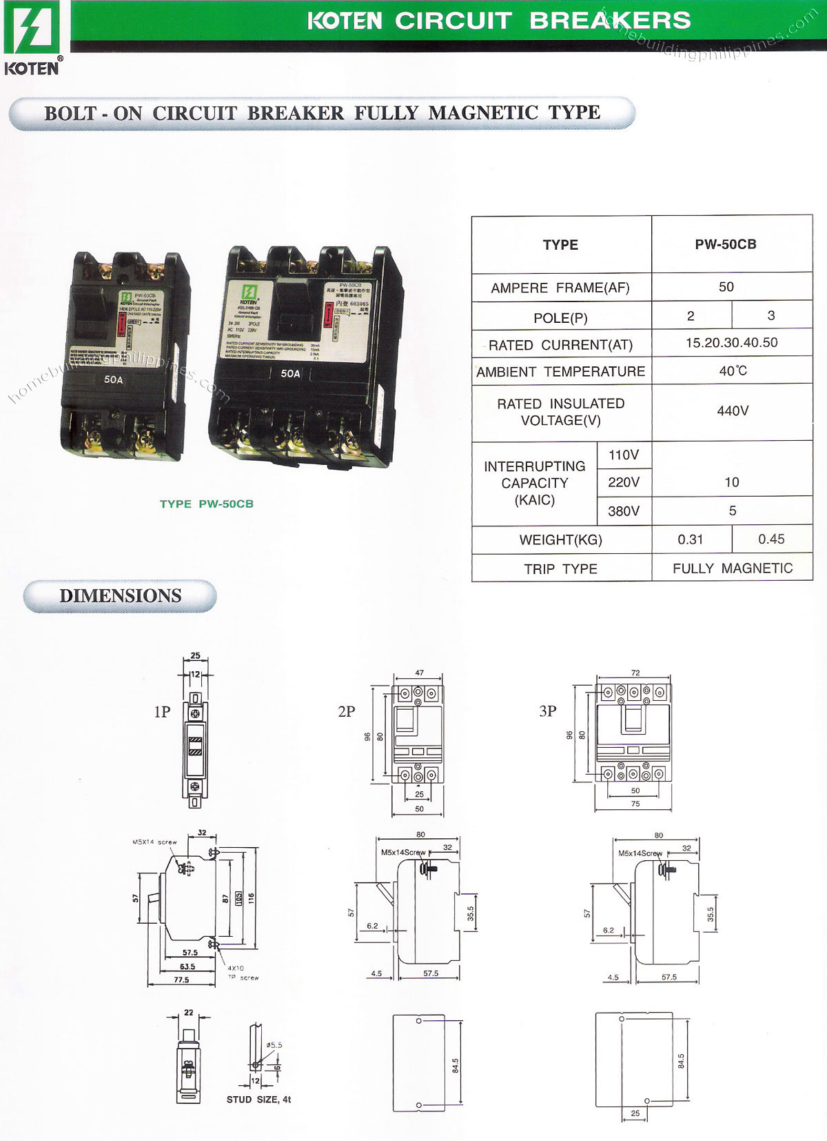 Bolt On Circuit Breaker Fully Magnetic Type Philippines