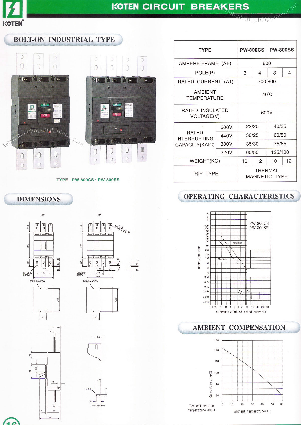 Koten Bolt On Electricity Circuit Breaker Industrial Type Philippines Ground Fault Interrupter