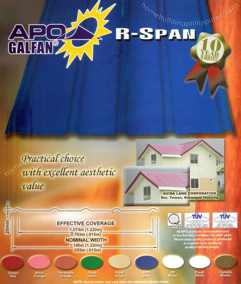 apo galfan r span metal roofing sheet color philippines