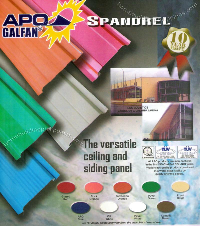 Apo Galfan Spandrel Ceiling Siding Panel Colors Philippines