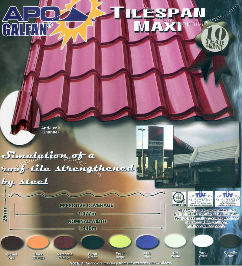 Simulated Tile Tilespan Maxi Steel Roofing Design Philippines