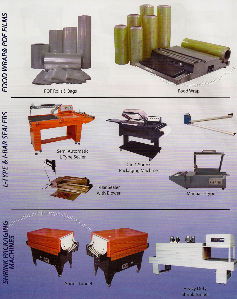 Food wraps and pof films l type and i bar sealers shrink for Food bar packaging machine