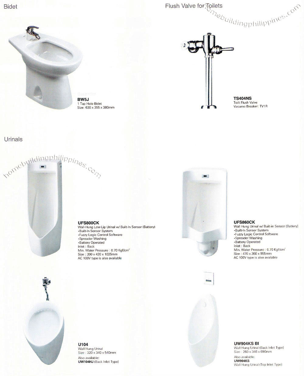 Bathroom Bidet, Urinals, Flush Valves Design Philippines