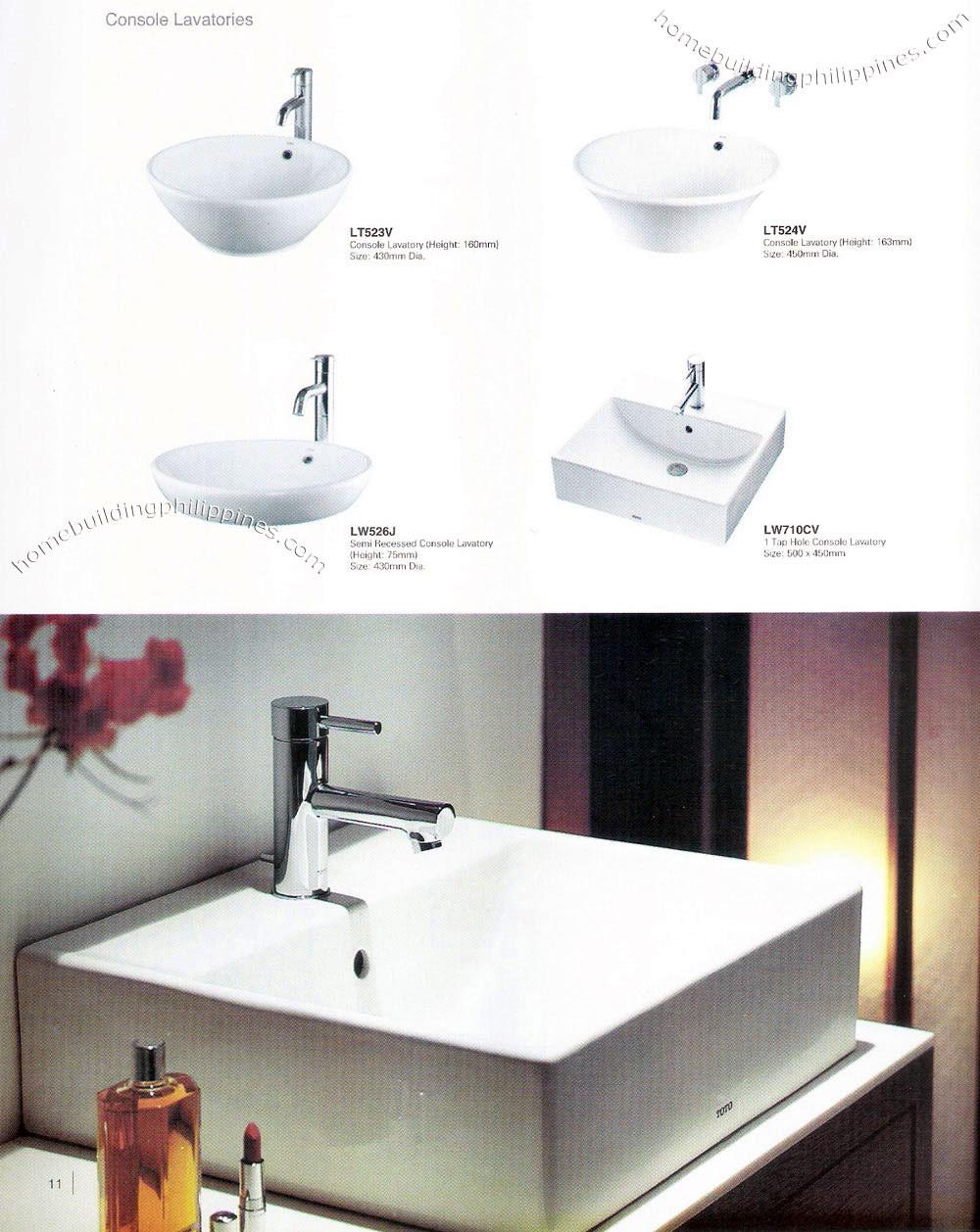 Bathroom Console Lavatories; Wash Basin Design Philippines