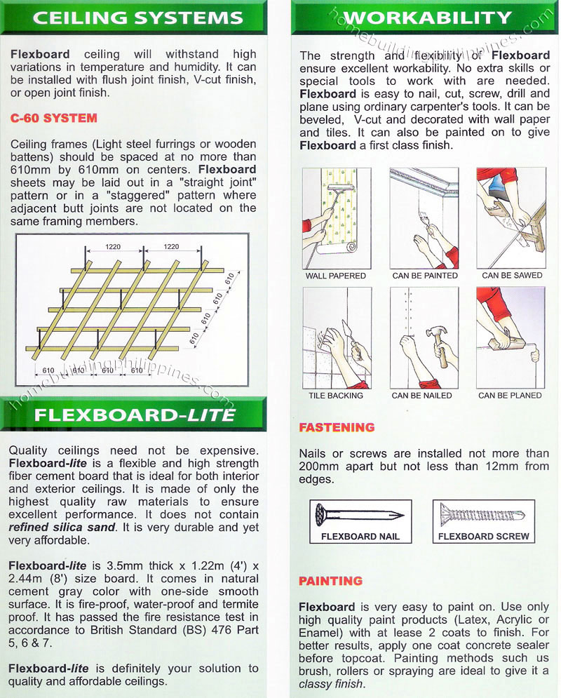 Flexboard Chrysotile Fiber Cement Board Philippines