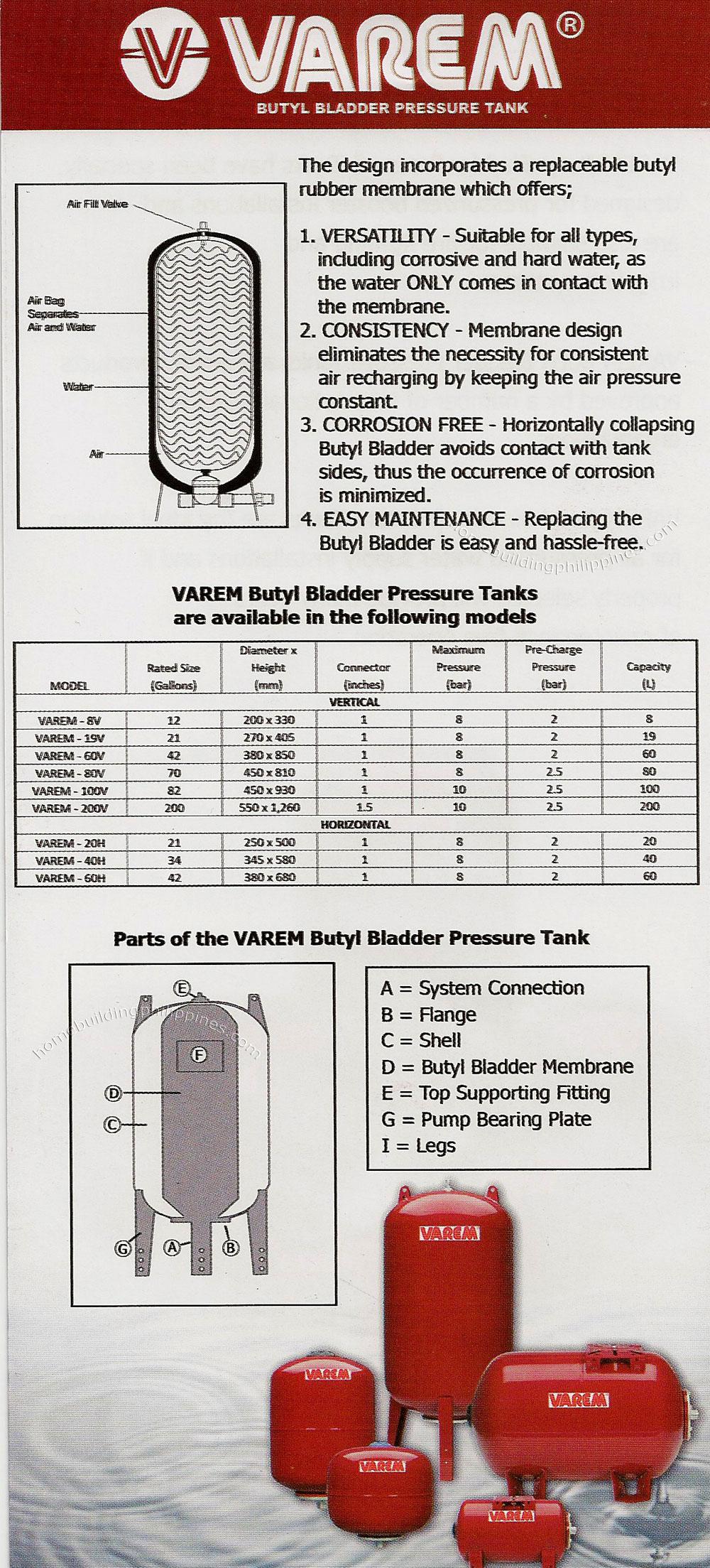 Varem Butyl Bladder Pressure Tank