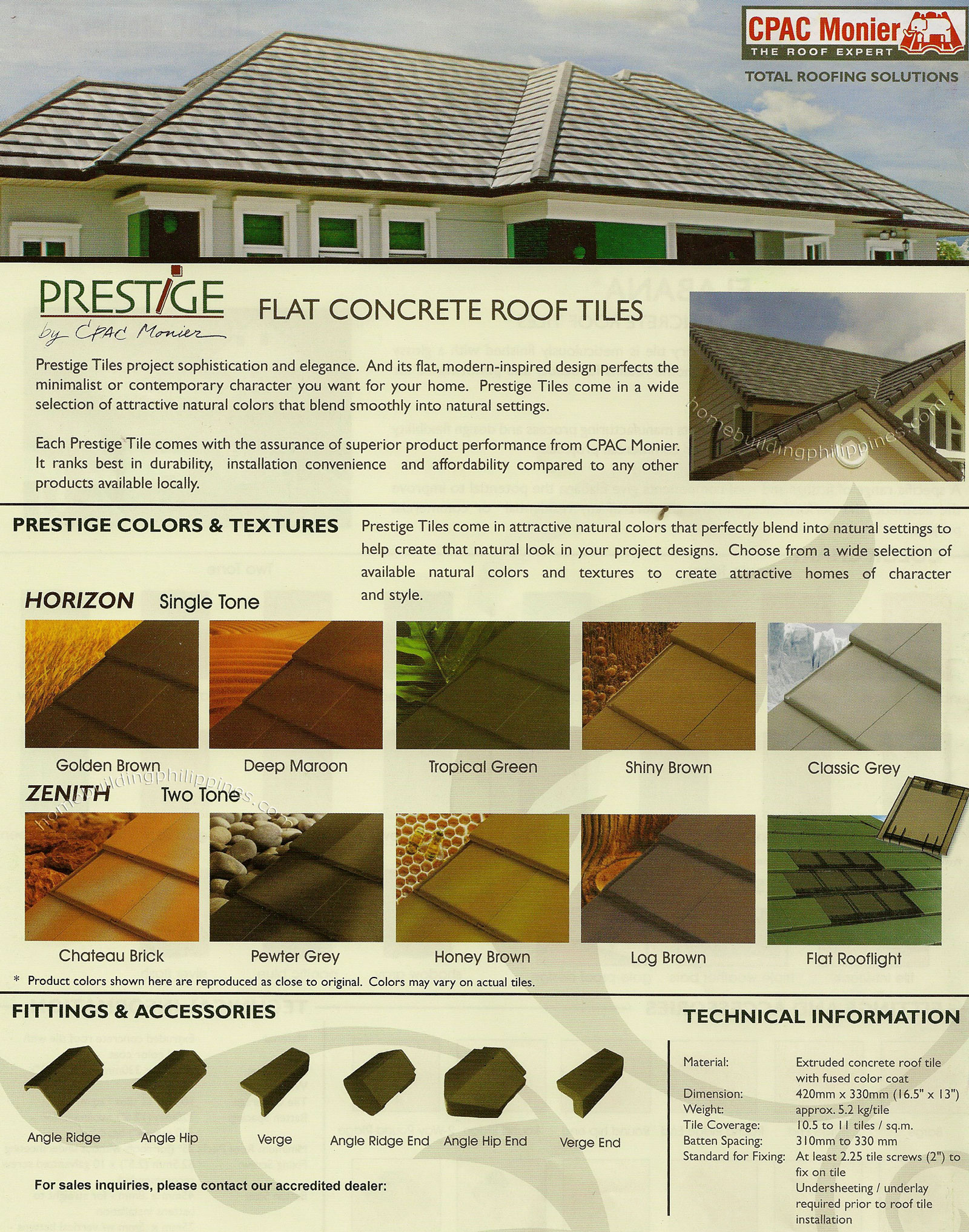Prestige Flat Concrete Roof Tiles