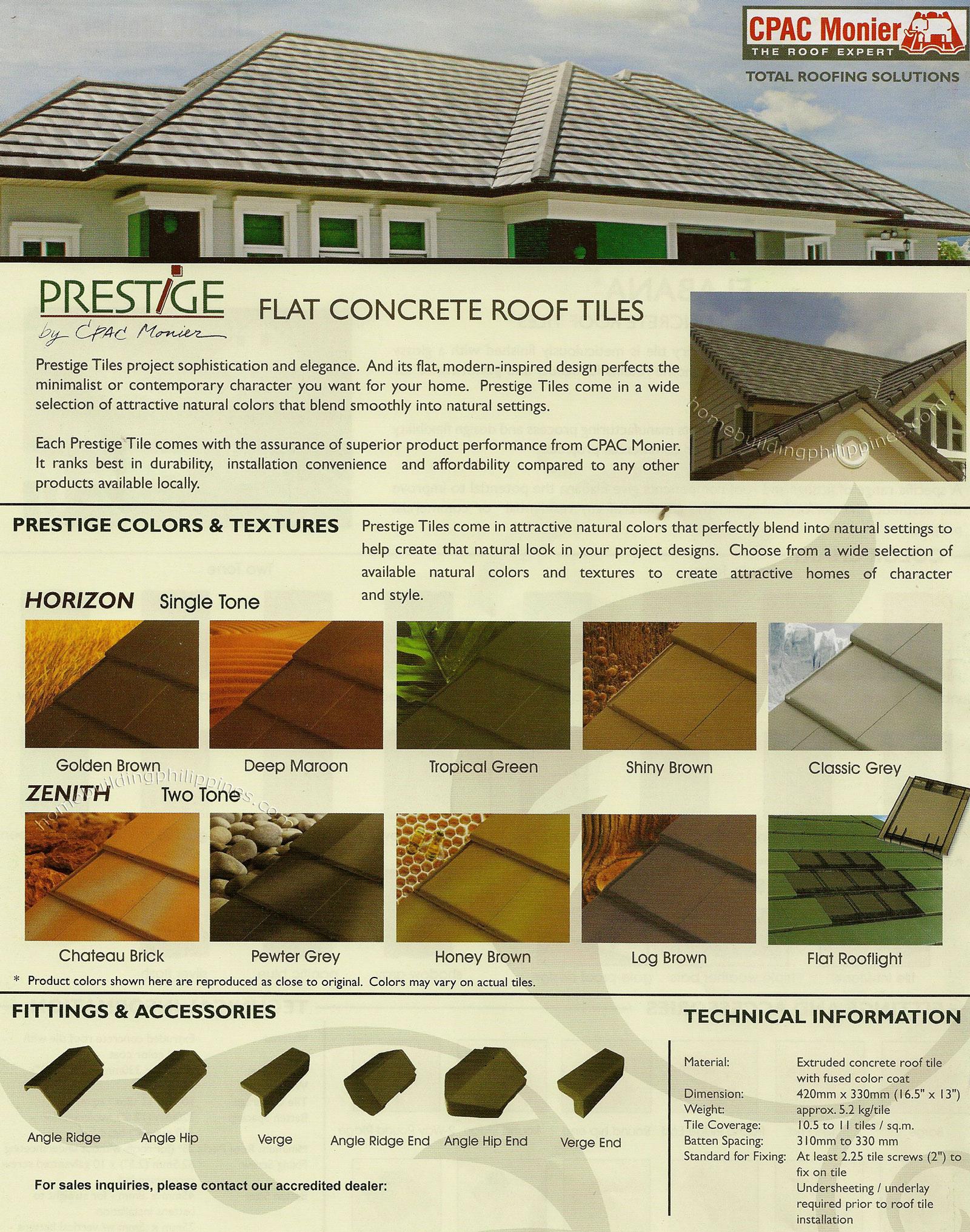 Prestige Flat Concrete Roof Tiles
