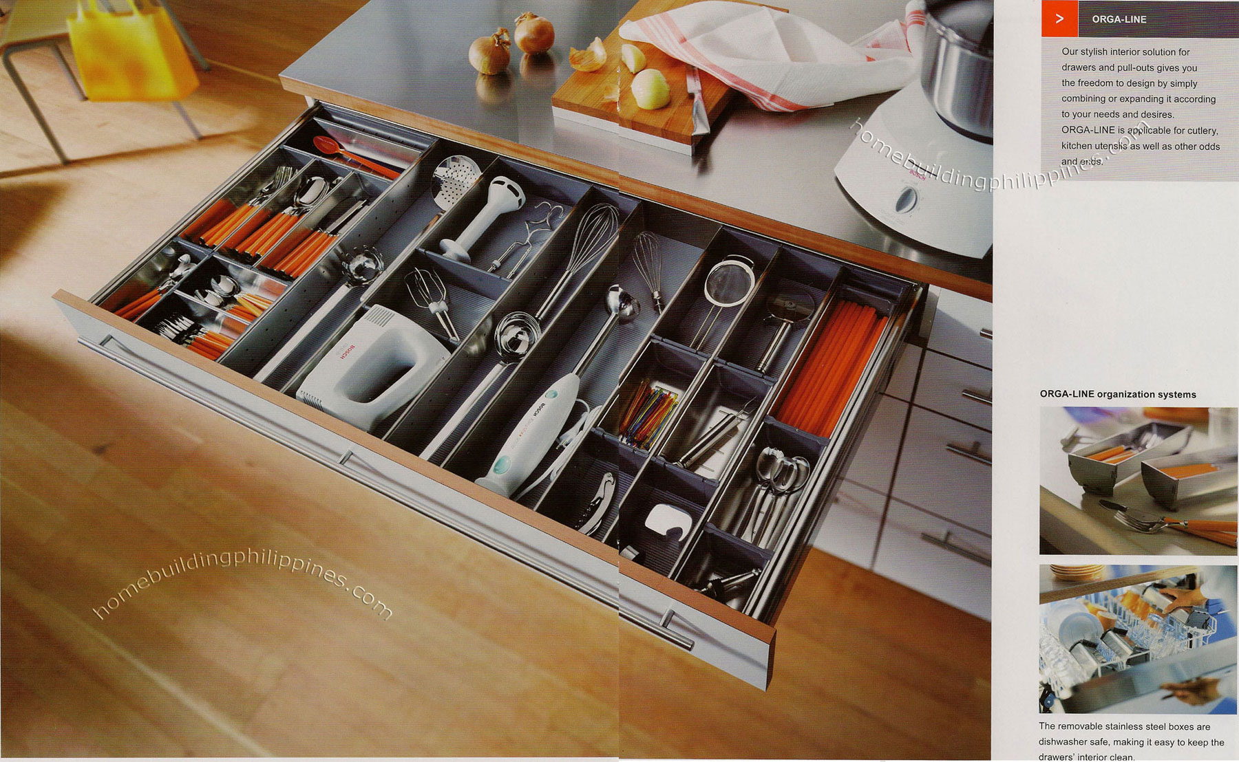 Orga Line Drawers And Pull Outs For Organizing Kitchen Utensils And Cutlery