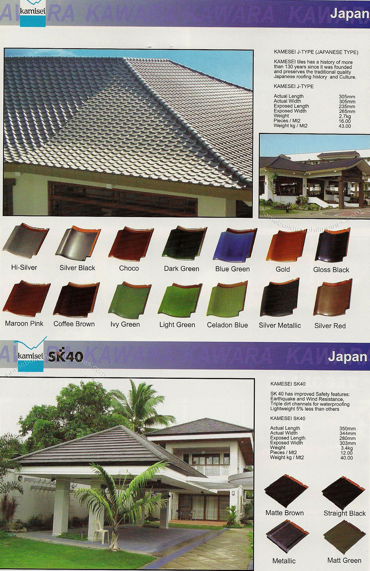 Kamiset Japanese Style Roofing Tile