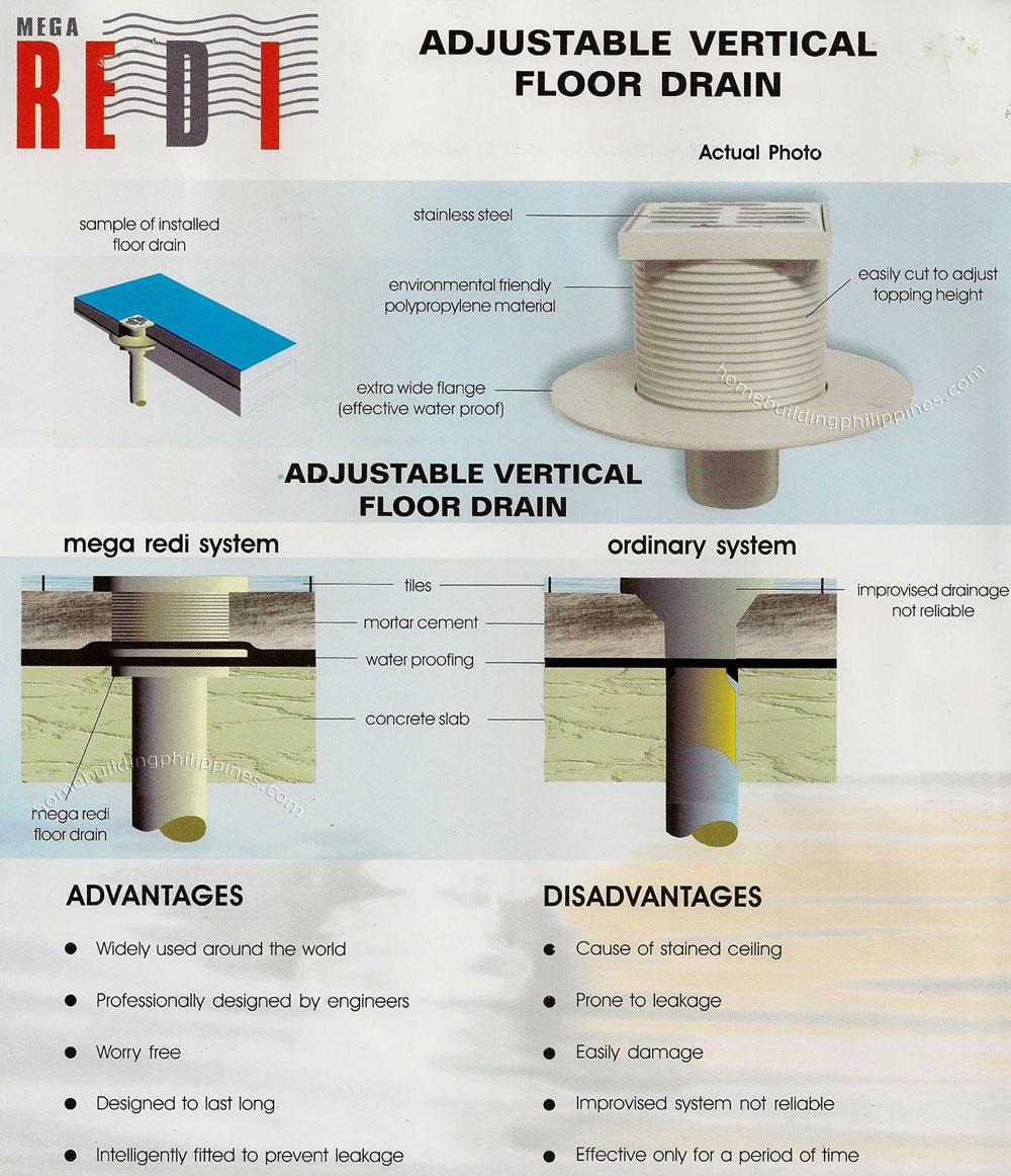 Redi Anti Flooding System Adjustable Vertical Floor Drain