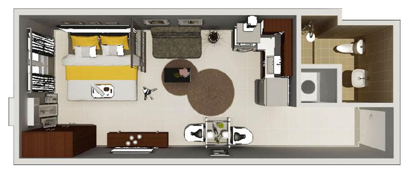 Condo sale at the lerato condos in makati floor plans for Studio type condo floor plan
