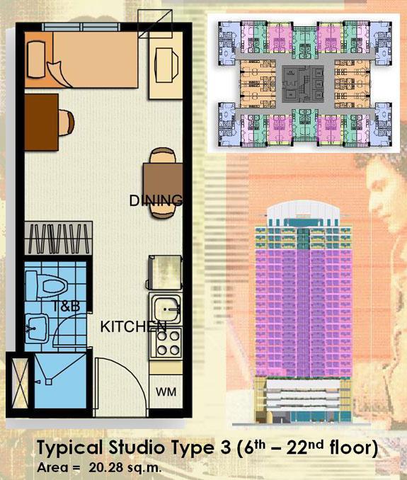 Condo sale at crown tower condos unit floor plans for Studio type condo floor plan