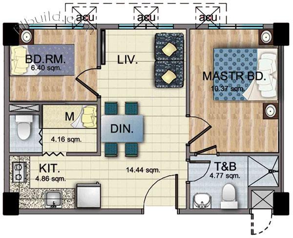 Condo sale at woodsville viverde mansions in para aque for Condo floor plans 2 bedroom
