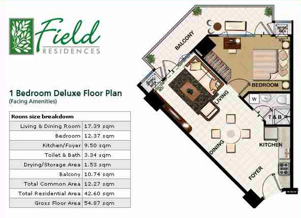 Condo sale at field residences unit floor plans building 1 for Smdc 1 bedroom interior design