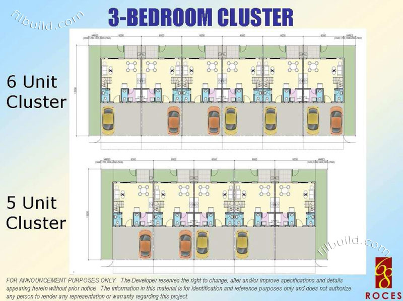 Real estate home lot sale at 3 bedroom cluster floor plan for Cluster house floor plan